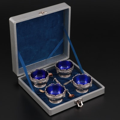 Corbell & Co. Silver Plate Salt Cellar and Spoon Set with Case
