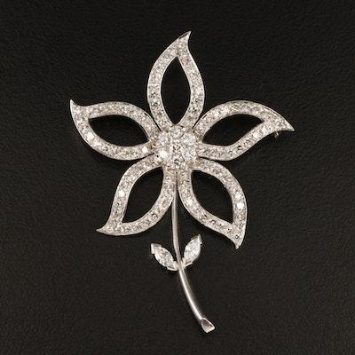 Platinum 2.02 CTW Diamond Flower Brooch