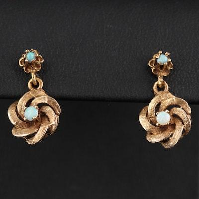 Vintage 14K Opal Love Knot Earrings