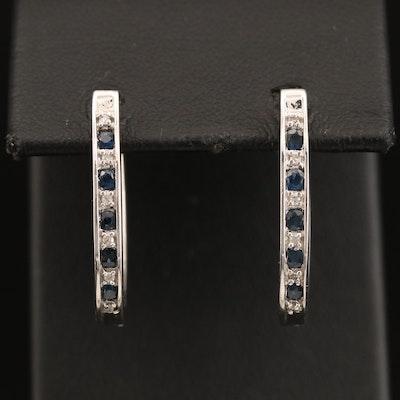 10K Sapphire and Diamond Inside-Out Oval Hoop Earrings