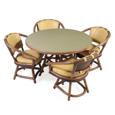 Ficks Reed Co. Bent Wood and Rattan Game Table and Chairs, Mid-20th Century