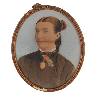 Hand-Painted Photograph Portrait of a Woman, Mid-19th Century