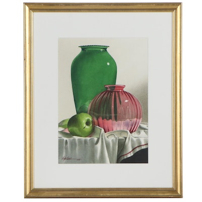"""Michael J. Weber Watercolor Painting """"Green & Cranberry Glass,"""" 1997"""
