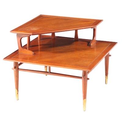 "Lane ""Copenhagen"" Mid Century Modern Walnut Two-Tier Corner Table"