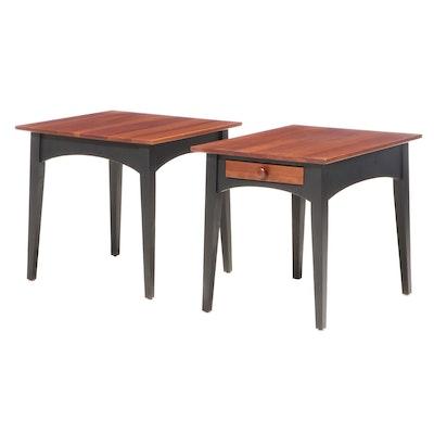 """Ethan Allen """"American Impressions"""" Ebonized Wood Side Tables"""