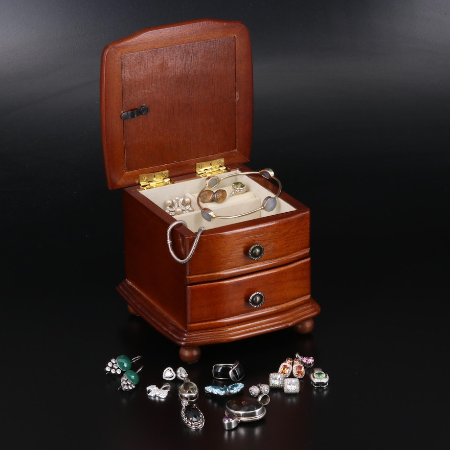 Jewelry Box with Jewelry Including Pandora Bracelet and Sterling Silver