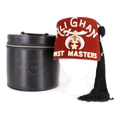 Ali Ghan Shriners Past Masters Fez Cap and Case
