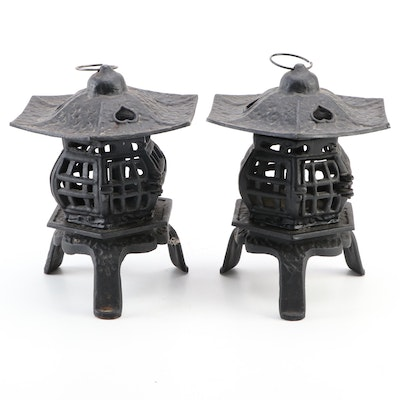 Pair of East Asian Style Cast Iron Outdoor Lanterns