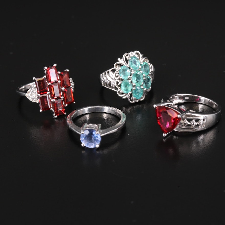 Sterling Rings Including Emerald, Topaz and Garnet