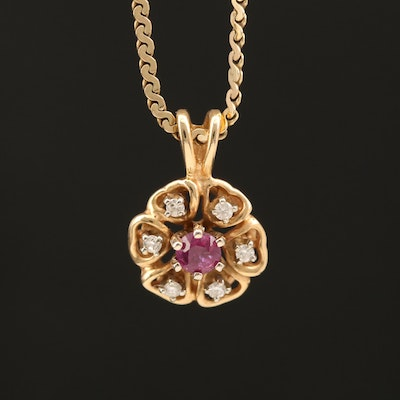 Italian 14K Ruby and Diamond Floral Pendant Necklace