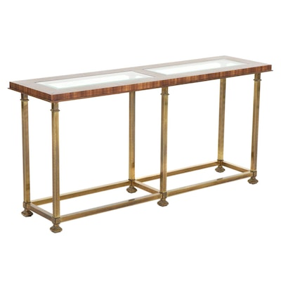 Contemporary Regency Style Glass Top Brass and Zebrawood Console Table