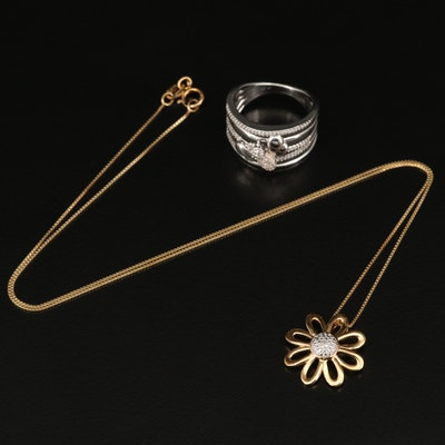 Sterling Silver Diamond Flower Necklace and Bee Ring with 10K Accent