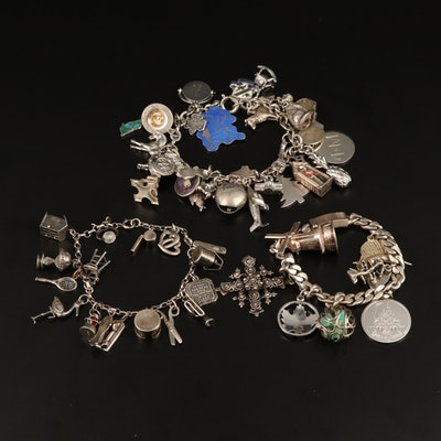 Vintage Sterling, 800 and 900 Silver Charm Bracelets with Gemstones