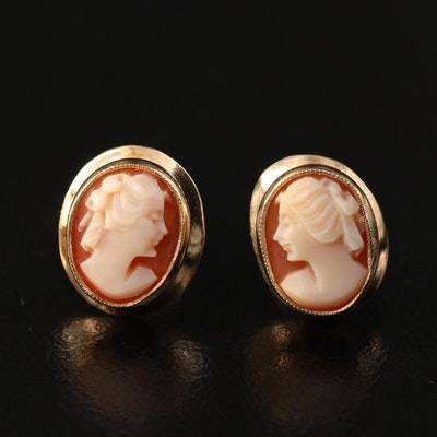14K Shell Cameo Earrings