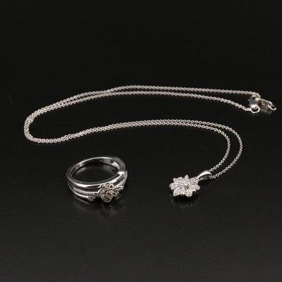 Sterling Diamond Flower Pendant Necklace and Bee Ring with 10K Accent