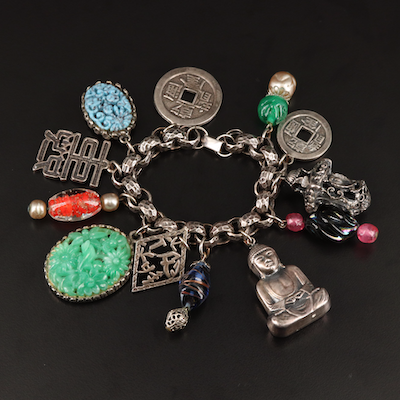 Chinese Themed Charm Bracelet Including Sterling and Art Glass