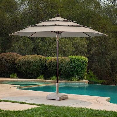 ProShade 11' Solar LED Aluminum Market Umbrella with Tilt in Cast Shale