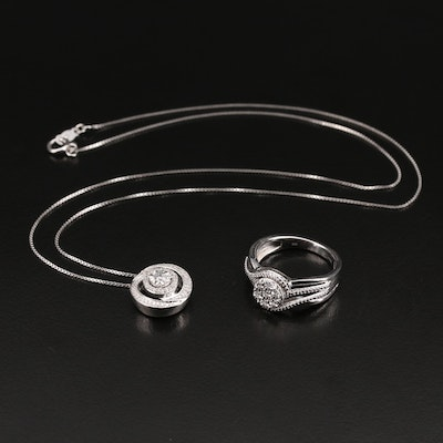 Sterling Diamond Halo Pendant Necklace and Ring