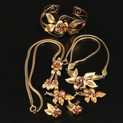 Vintage Krementz USA Matching Necklaces, Earrings, Brooches and Bracelet