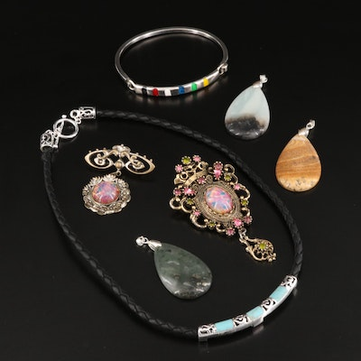 Gemstone and Glass Jewelry Selection Featuring Pendants
