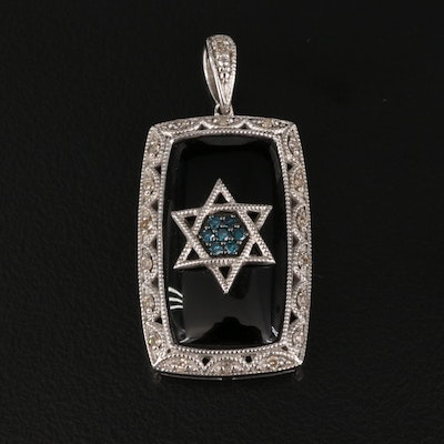 Sterling Silver Black Onyx and Diamond Star of David Pendant Necklace