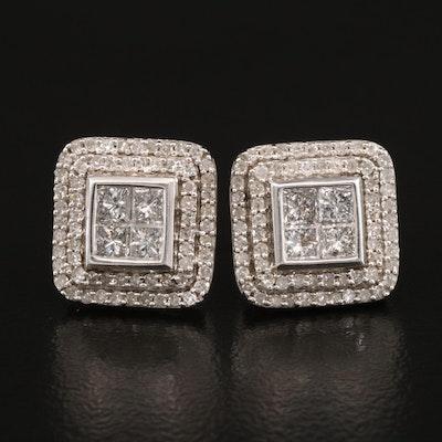 Sterling Silver 1.02 CTW Diamond Earrings