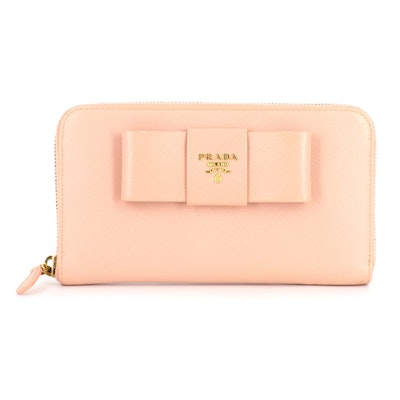 Prada Bow Zipper Long Wallet in Blush Pink Saffiano Leather