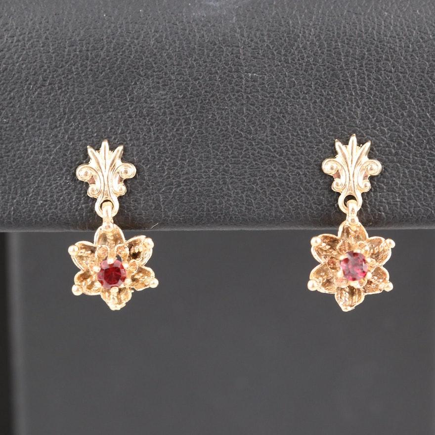 14K Garnet Flower Earrings