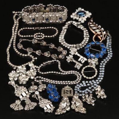 Rhinestone Jewelry Including Crown Trifari and Weiss