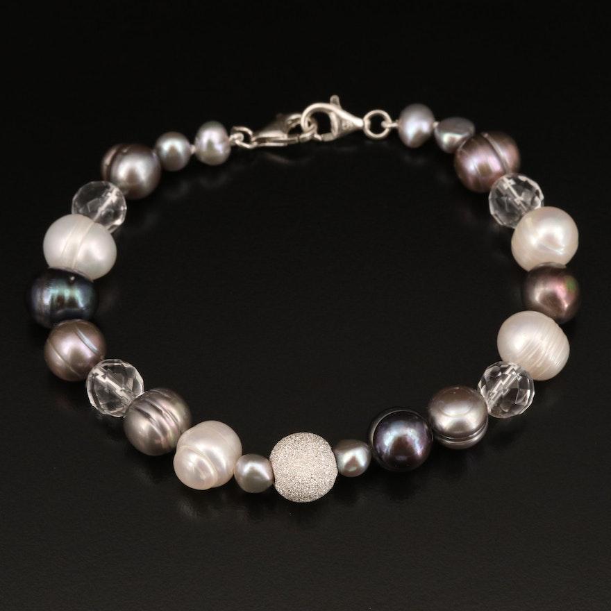 Sterling Pearl and Rock Quartz Crystal Bracelet