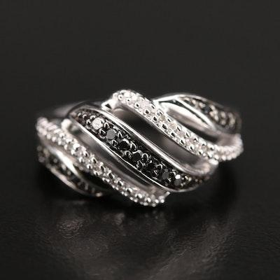 Sterling Diamond Multi-Row Ring