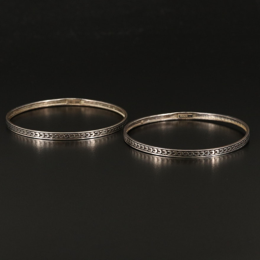 Sterling Silver Crescent Moon Bangles