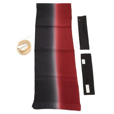 Textured Ombré Silk Obi Age, Braided Yukiwa Obi-jime and Tato-shi Paper