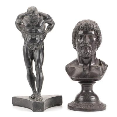 Maitland-Smith Ltd. Cast Metal Bust with Classical Style Cast Composite Figure