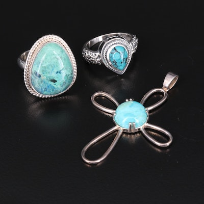 Sterling Rings and Cross Pendant Including Turquoise and Faux Turquoise