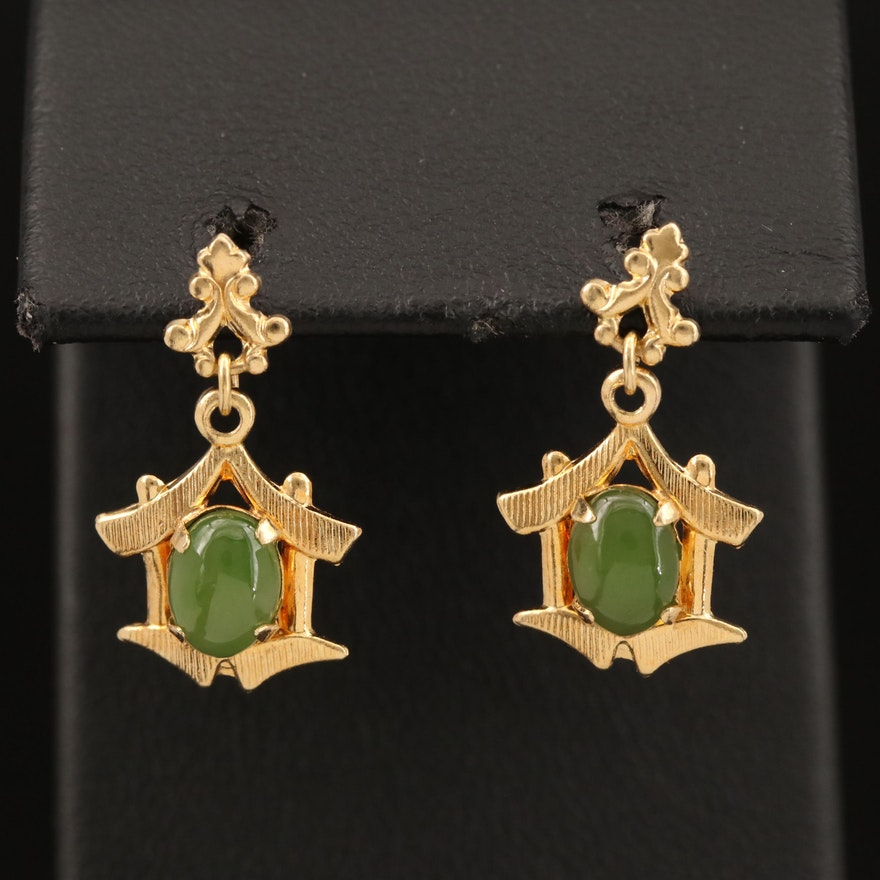 14K Nephrite Temple Earrings