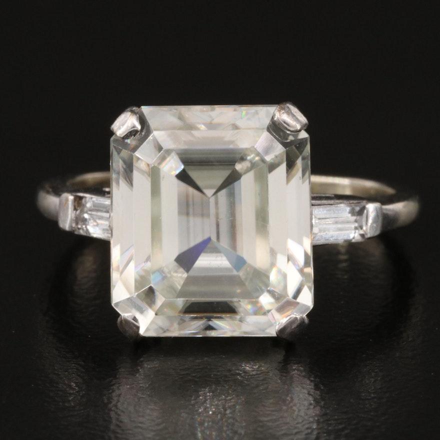 14K Zircon and Topaz Rectangular Ring