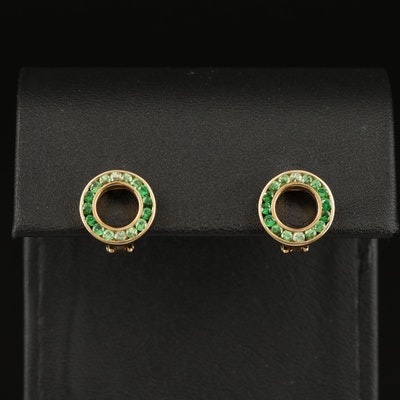 14K Tsavorite Circle Earrings