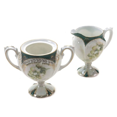 Reinhold Schlegelmilch Porcelain Footed Creamer and Sugar, Early 20th Century