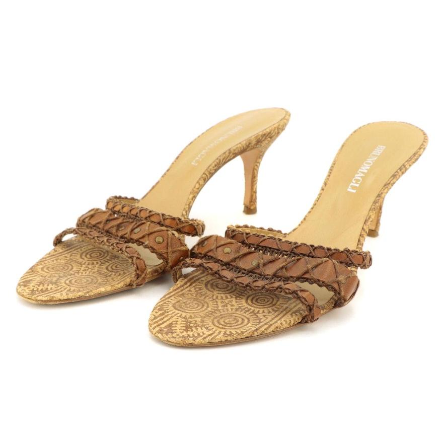 Bruno Magli Leather and Cork High-Heeled Slide Sandals