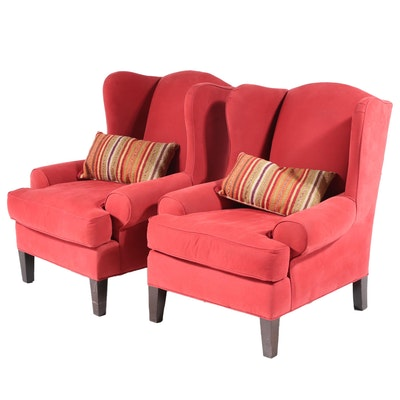 Pair of Robinson & Robinson Upholstered Wingback Armchairs