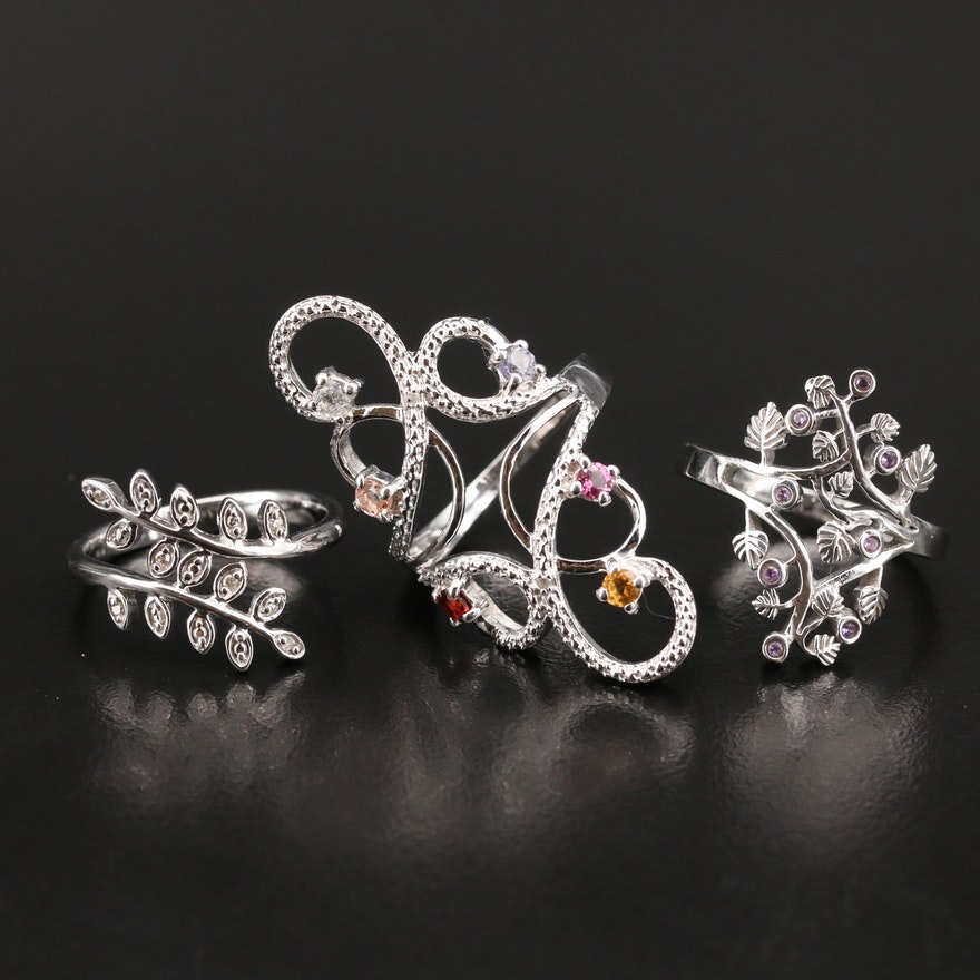 Sterling Openwork and Bypass Rings Including Diamond and Gemstones