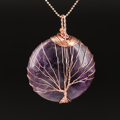 Amethyst Wire Wrapped Tree of Life Pendant on Beaded Chain