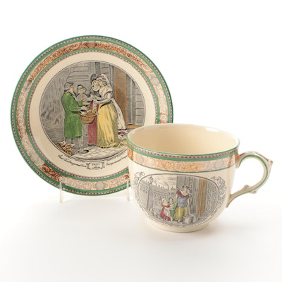 """Adams """"Cries of London"""" Ironstone Oversized Cup and Saucer, Early 20th C."""