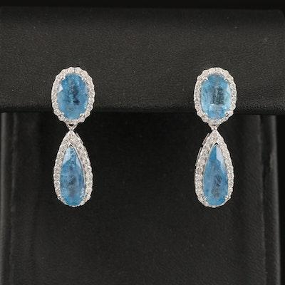 14K Beryl and Diamond Earrings