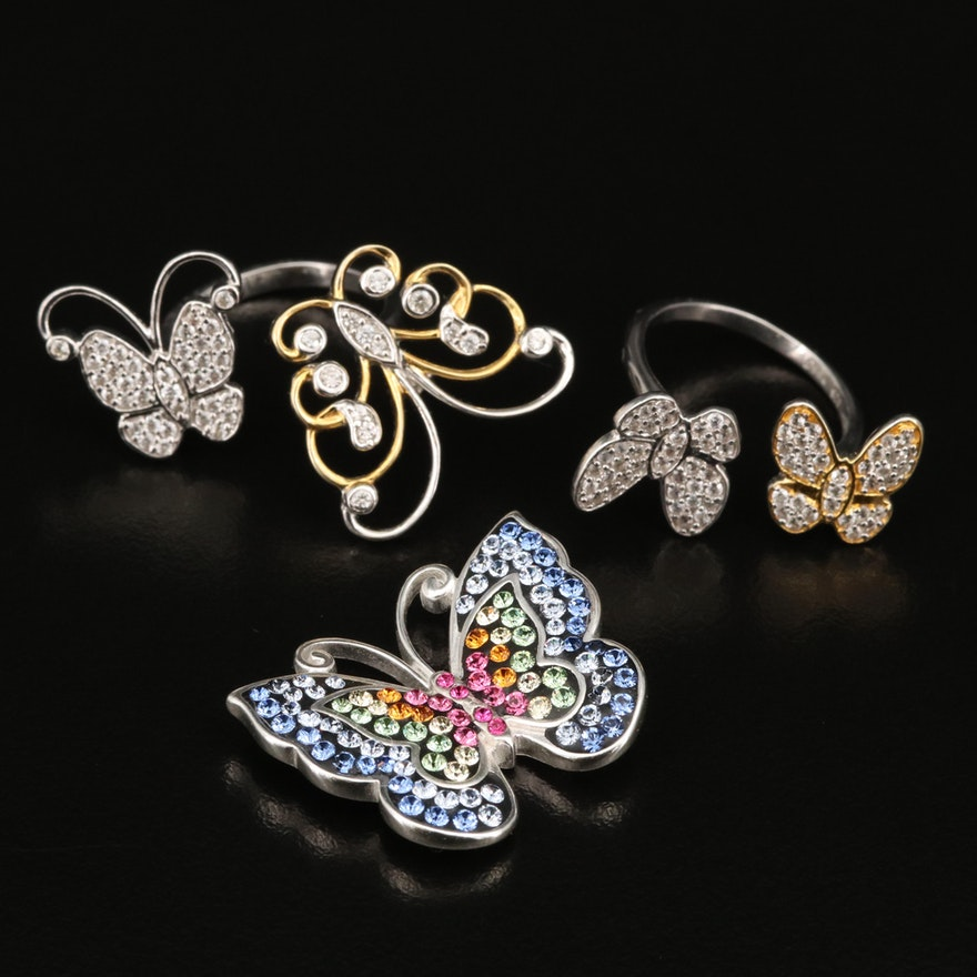 Sterling Silver Zircon and Rhinestone Butterfly Rings and Pendant