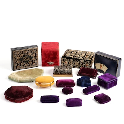 Velvet Clamshell and Leather Jewelry Boxes, Mid-20th Century
