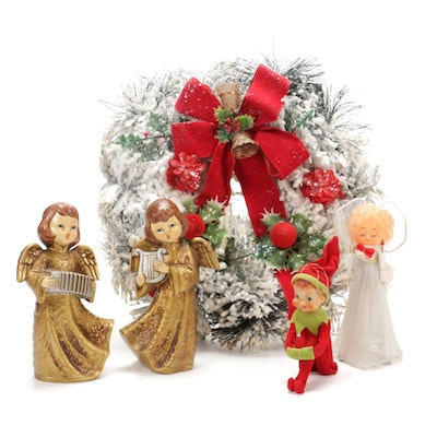Angel and Elf Themed Table Décor with Holiday Wreath