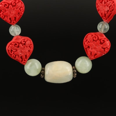 Chinese Lacquer, Sterling and Gemstone Necklace