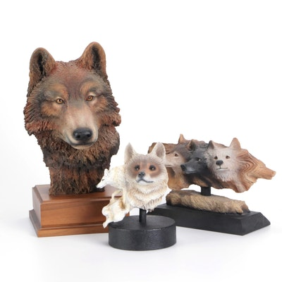 Paul R. Caines Composite Limited Edition Wolf Sculptures, Late 20th Century